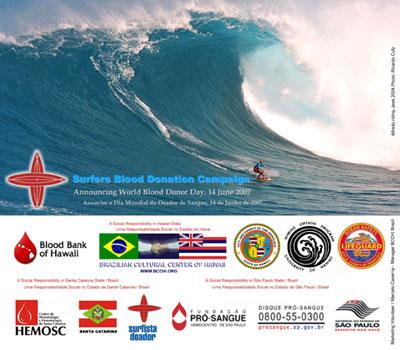 Cartaz da campanha Surfista Doador noHawaii