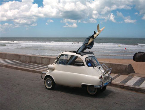 Leo Isetta And Surfboard